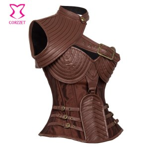 Brown-Leather-Armor-Corset-Sexy-Gothic-Corsets-And-Bustiers-Vintage-Steampunk-Clothing-Corpetes-E-Espartilhos-Plus